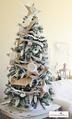 DIY Painted Artificial Christmas Tree.  Michaels Dream Tree Challenge - White Christmas Tree by LivingLocurto.com #christmas