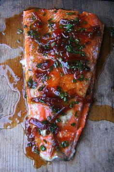 Cedar Plank Salmon with Burnt Orange Wasabi Glaze