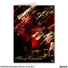 Red Gold Christmas Tree Greeting Card @artbyapril1