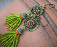 Beaded Tassel Spring Flower Earrings by annamei on Etsy, $38.00