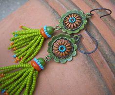 Beaded Tassel Spring Flower Earrings by annamei on Etsy, $38.00