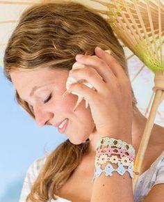 Quick cochet bracelets - summer jewelry - free pdf pattern (germ)