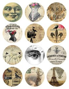 digital collage sheet of twelve 225 X 225 circle by boxesbybrkr, $3.00