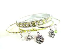 Yoga Jewelry Bangle Bracelet Set Zen by BohemianEarthDesigns, $25.95