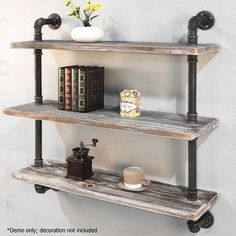 i.Life Industrial 3 Level Floating Pipe Wall Shelf