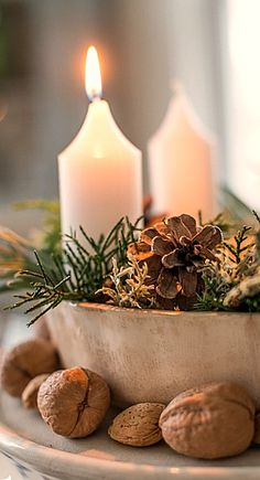 White candles and bowl with greens, pine cones, and nuts