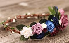 Mauve Wine Navy Wedding Flower Crown  Head by weddingflowercrown
