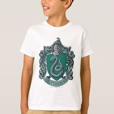 Harry Potter Slytherin Crest Green T-Shirt , Real Diamond Necklace, Dark Wizard, Black And White T Shirts, Harry Potter Shirts, Slytherin House, White Style, Colorful Shirts, Mens Tops, Lord Voldemort