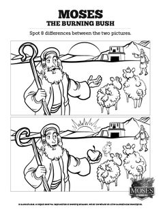 Exodus 3 Moses and the Burning Bush Kids Spot the Difference: Can you spot the difference? Is there a difference? Packed with silly fun, this Moses and the Burning Bush Sunday School activity is just the thing for your upcoming Exodus 3 kids Bible lesson.