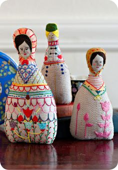 Folk Art Doll Soft Sculpture Hand Embroidered