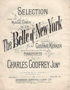 the Belle of New York Sheet Music. #selection #music #piano