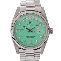 """ROLEX Diamond Seafoam Green """"Stella"""" Dial White Gold Day-Date 