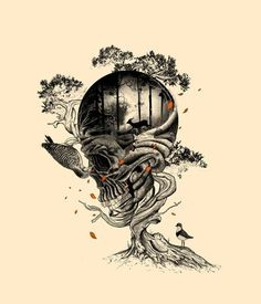 Lost Translation Art Print By Nicebleed - Skull Tree Tattoo | Francis Minoza And Laurence Minoza (nicebleed)
