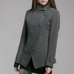 Women wool woolen Jacket Gray Casual Jacket Winter Coat by Roniaz