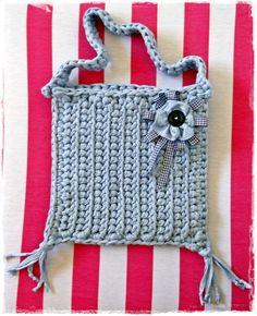 Blue crochet bag.