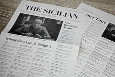 Love this idea of the menu as a newspaper