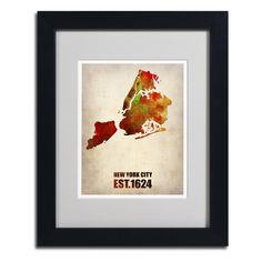 New York City Watercolor Map 2 by Naxart Matted Framed Painting Print