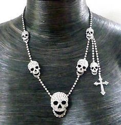 Butler and Wilson Clear Skull Side Cross Necklace NEW