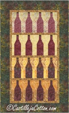 Pieced wall hanging for a wine lover. Wine Cellar Quilt Pattern CJC-4997 by Castilleja Cotton - Diane McGregor.  Check out more of our quilt patterns. https://www.pinterest.com/quiltwomancom/quilts/  Subscribe to our mailing list for updates on new patterns and sales! https://visitor.constantcontact.com/manage/optin?v=001nInsvTYVCuDEFMt6NnF5AZm5OdNtzij2ua4k-qgFIzX6B22GyGeBWSrTG2Of_W0RDlB-QaVpNqTrhbz9y39jbLrD2dlEPkoHf_P3E6E5nBNVQNAEUs-xVA%3D%3D