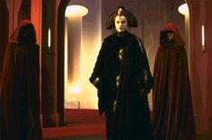 Queen Amidala with her handmaidens in senator Palpatine's office