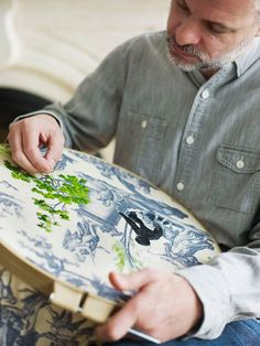 Embroidery on toile...what a great idea!