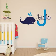 """13""""High+Personalize+Kids+Name+Vinyl+Wall+Decal+Baby+Whale+Sticker+Decoration+#lovehomedeco+#Nursery"""