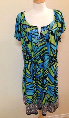 Apt 9 dress 2X green blue black embellished knee length summer cruise #Apt9 #Shift #Casual