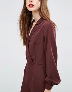 Image 3 ofASOS Long Sleeve Jumpsuit with Collar and Wrap Front