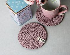 Rope crochet home decor and gifts by Ropedeco Crochet Rope, Crochet Flowers, Breakfast Table Decor, Crochet Placemats, Tea Coaster, Crochet Home Decor, Decoration Table, Crochet Gifts, Crochet Projects