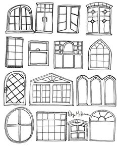 FREEBIE! Windows Coloring Page by Robyn McKeown Design #adultcoloringbook