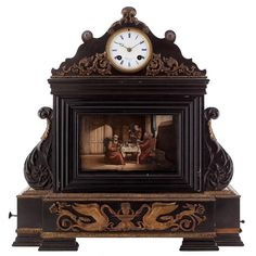 Ormolu Mounted Ebonised Wood Musical Automaton Mantel Clock by Tharin | 1stdibs.com
