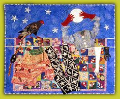 "Jane Burch Cochran ~ ""Life Line"" (1993) art quilt ""…my self-portrait on a clothesline.… myself as part gypsy butterfly, part pearly queen… and part moon chaser."" 68 x 82 in. via janeburchcochran.com"