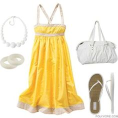 Sundress, Flip Flops... Yellow. This is my kind of outfit.