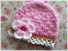 Spring Jubilee-Pink Crochet Hat-Hot Pink-Lime by mygirlshats