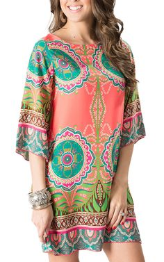 R. Rouge Women's Coral with Green Multi Print 3/4 Sleeve Dress