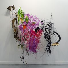 From Bruno David Gallery, Judy Pfaff Hen of the woods, 2012  Steel wires, various plastics & papers, fungus, and organic matter 94 x 92 x 32 inches