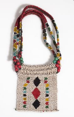 South Africa |  Necklace; glass beads, and cord | ca. 1st half 20th century | Possibly Zulu people.