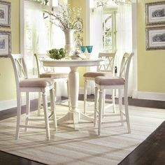American Drew Camden-light Round Counter Height Ped Table In White Painted