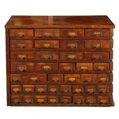 C. 1900 Solid Oak Store Display Cabinet...place all the kid's art supplies in their own drawer and label