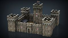 Medieval Fortress Model in Fantasy Medieval Tower, Medieval Fortress, Dungeon Maps, 3d Architecture, Tower Bridge, Model, Low Poly, Fantasy, Google