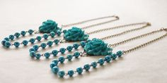 Set of 3 Bridesmaid Necklaces / Blue Rose Statement Necklace / Blue Bead Flower Necklace / Woodland Wedding Necklace by SmittenKittenKendall on Etsy