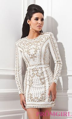 Short Tony Bowls Dress with Long Sleeves at PromGirl.com