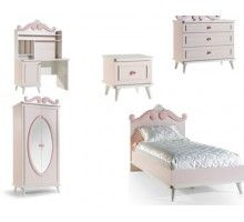 Rosa Girls Bedroom Furniture Suite An enchanting bedroom...  Beautiful and charming bedroom set for girls Baby pink and white colour theme Mirrored wardrobe with shelves and hanging rails Set includes bedstead with headboard, wardrobe, study desk, nightstand, and dressing table with mirror Optional mosquito net, bookcase, chair, ceiling lamp and table lighting available *Mattress, duvet set and net not included Comes with 10 year Alfemo warranty 5% Cashback on your next order