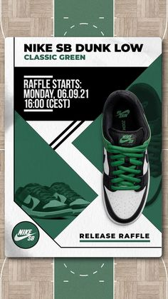 We've got a few sizes of the Nike SB Dunk Low Pro Classic Green - available exclusively for Premium Club FLOWs, AMs and PROs via Release Raffle. The Raffle will run from 06.09.2021, 16:00 until 07.09.2021, 23:59 (CEST). All further information can be found on the Release Raffle page in our shop. Skate Shoe Brands, Skate Shoes, New Skate, Shoe Releases, Converse, Vans, Nike Sb, Premium Club, Adidas Sneakers