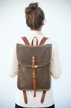 Prachtige canvas rugzak met leren banden - Beautiful canvas backpack with leather straps