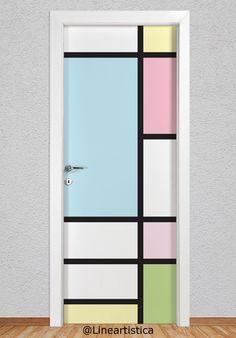 Painted Bedroom Doors, Closet Doors Painted, Art Room Doors, Painted Doors, Bedroom Wall Designs, Room Door Design, Door Design Interior, Bedroom Wall Colors, Living Room Themes