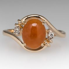 Vintage Orange Jade Cabochon Ring w/ Diamond Accents Gold Ring Designs, Gold Earrings Designs, Gold Jewellery Design, Ring Design In Gold, Gold Rings Jewelry, Womens Jewelry Rings, Pendant Jewelry, Gemstone Rings, Coral Jewelry