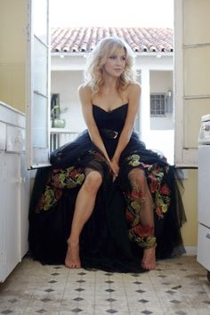 "Rhea Seehorn chose this Jean Fares gown for her comedy ""Whitney"" photo shoot."