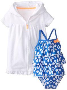 Carter's Baby Girls' 2 Piece Ruffled Swim Set (Baby) - Blue/White - Newborn