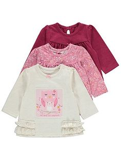 Your little one is sure to look incredibly cute in any of these stylish tops. Each is patterned with pretty hues, sweet owls and one features a cute slogan r...